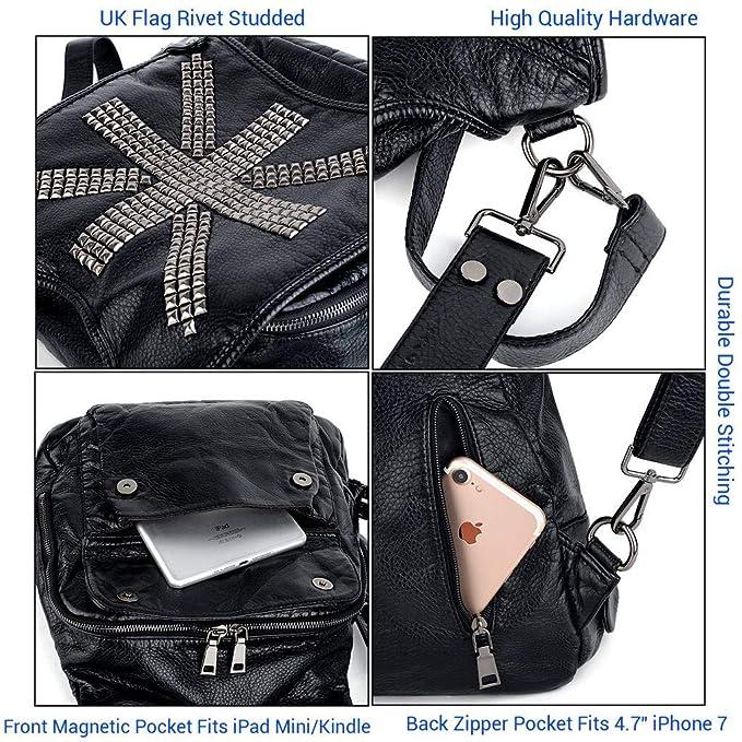 6bf16e210419 Amazon.com  UTO Women Backpack Union Jack UK Flag Rivet Studded PU Washed  Leather Purse Convertible Ladies Rucksack Shoulder Bag Black  UTO