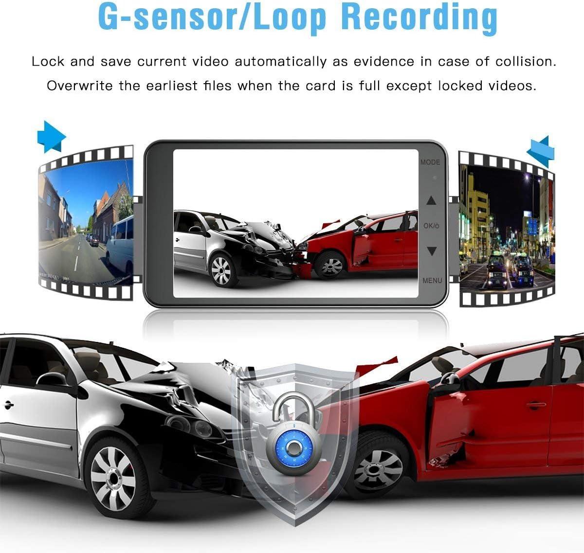 Dash Cam 4 Inch Car Camera-Car Camcorder Super HD 1080P LCD Display Recorder with Front+VGA Rear 290/°Super Wide Angle Built-in G-Sensor Night Vision Recording Loop Recording and Parking Monitorin