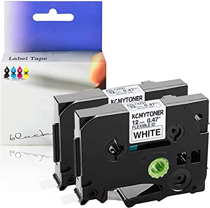 Black on White Flexible Label Tape 12mm For Brother P-touch PT-D600 TZe-FX231
