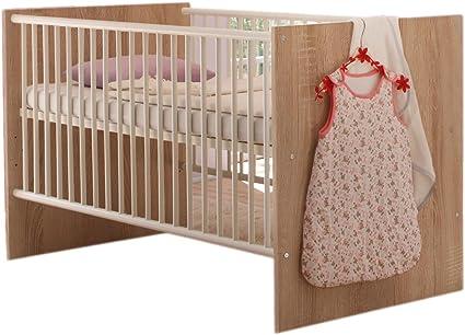 Cuna cama infantil, madera de roble/blanco mate, 3-con somier ...