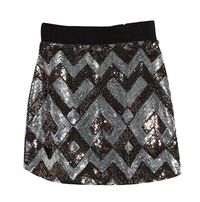 super popolare 2d10c 3d556 NiSeng Donna Paillettes Gonne Slim Fit Mini Glitter Gonna ...