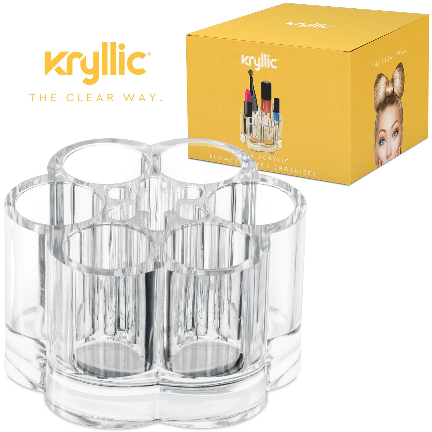 Acrylic Makeup Organizer, Flower Shaped Cosmetic Holder, 7 Slots, By Kryllic