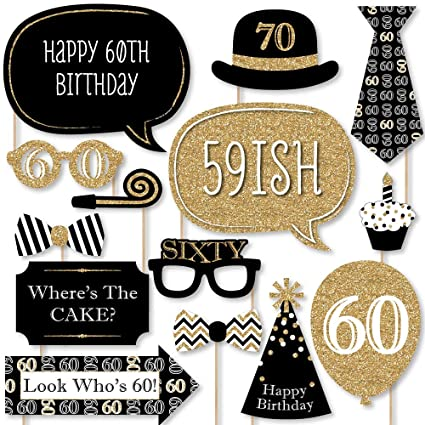Amazon.com: Adultos 60th cumpleaños – Oro – Photo Booth ...