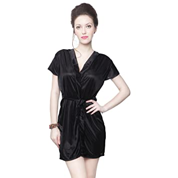 Buy Kanika Women Satin Robe-Black Online at Low Prices in India - Amazon.in eeef04f01