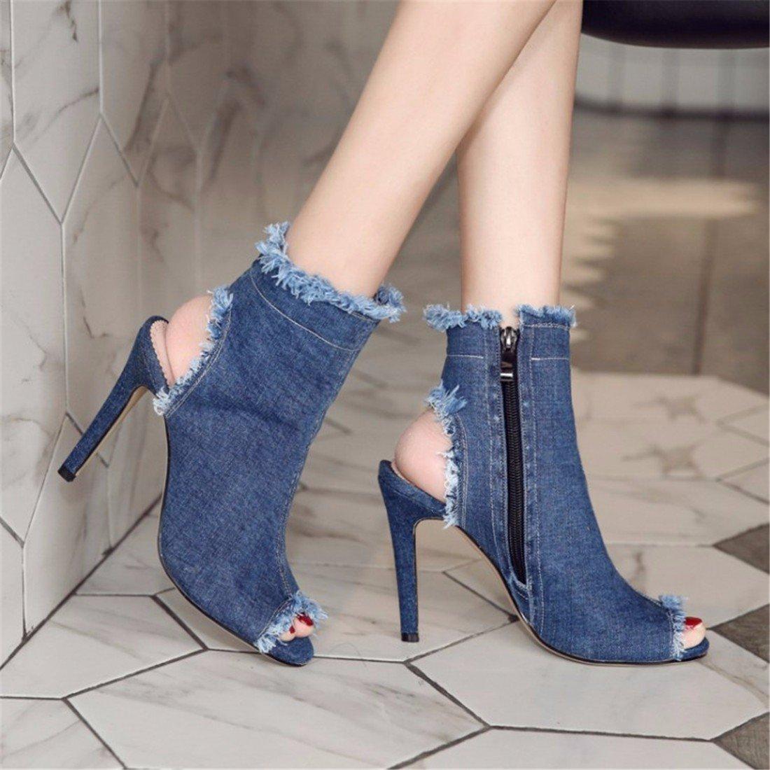 Damen Sandalen Sandalen Fisch Mund Sandalette Sandalette Sandalette High-Heel Denim Sandalen 574e99
