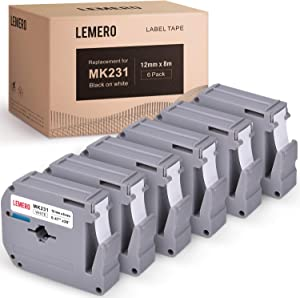 LEMERO Compatible with Brother M Tape M-K231 M231 MK231 M-K231s 12mm x 8 Meter White Label Tape - for Brother PT-65 PT-70 PT-80 PT-90 PT-45M 26.2 Feet Black on White (6 Pack)