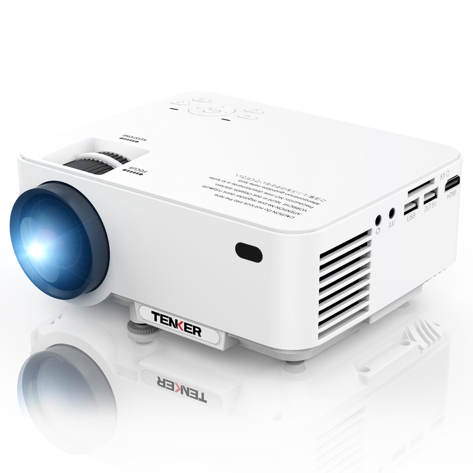 TENKER Upgrade +10% Lumens 4.0'' LCD Mini Projector, Portable Home Theater Projector with 170'' Display, Supports 1080P, HDMI, USB, SD Card, AV & VGA for TV, Laptops, Games and Smartphones