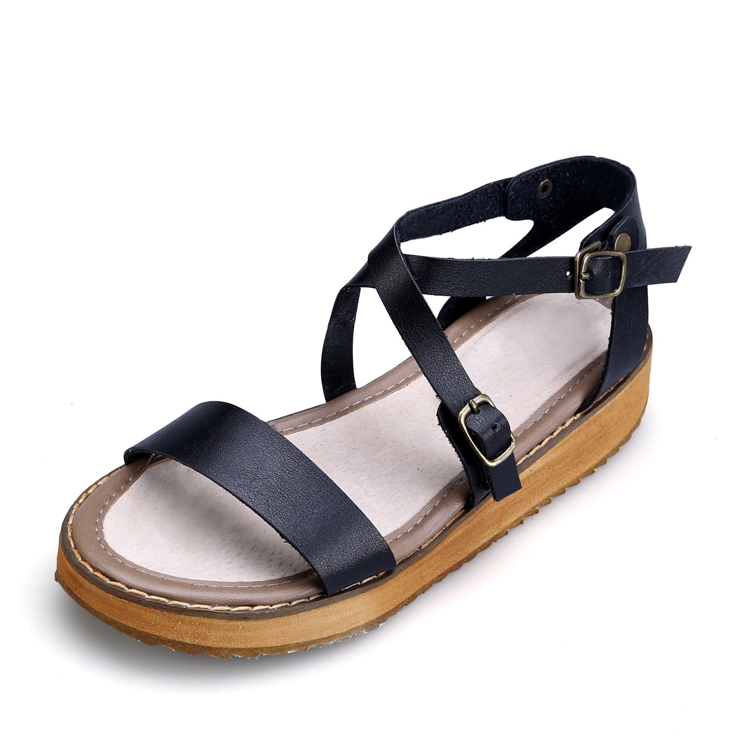 Smilun Girl's Fashion Strappy Roman Sandals Wedge Sandals Flip Flops Thongs Open Toe Sandals Flip Flops Roman Sandal Summer Sandals Black US5.5