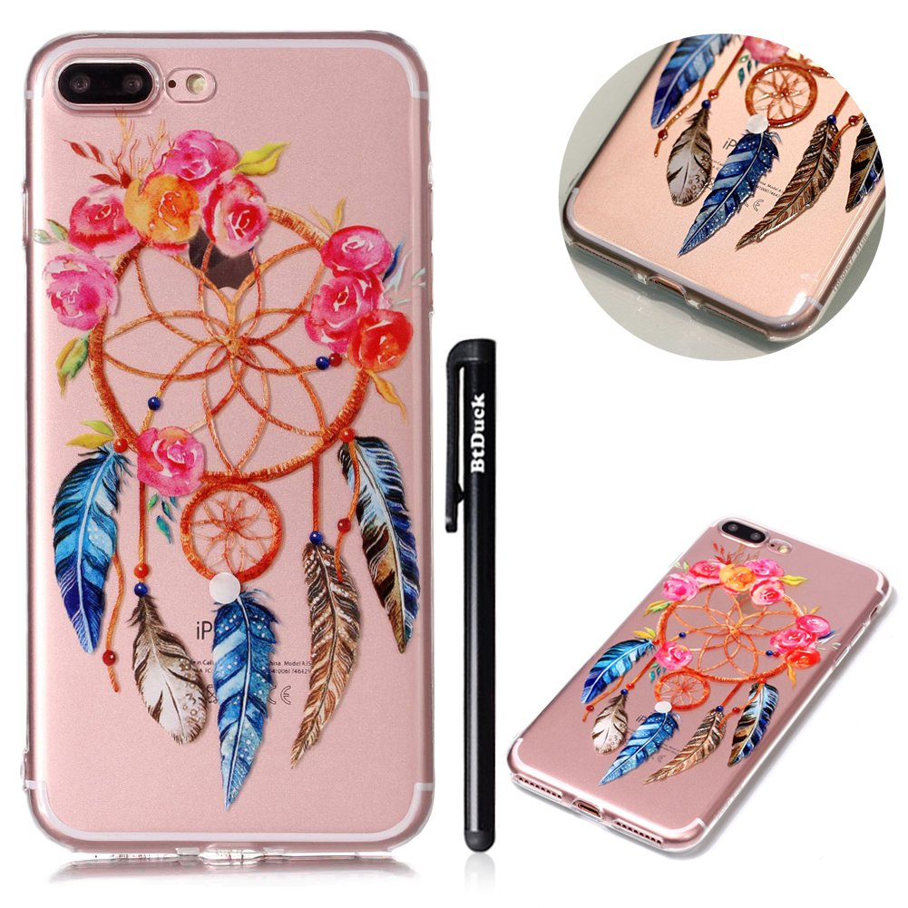 BtDuck iPhone 8 Plus iPhone 7 Plus 5.5 inch Garden Red Rose Peony Small Floral White Rose Soft Embossed 3D TPU Gel Clear Cover Protection Strict Shockproof Heavy Duty Robust Bumper Case Buffer