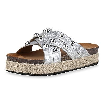 SCARPE VITA Damen Sandaletten Pantoletten mit Plateau Bast Nieten