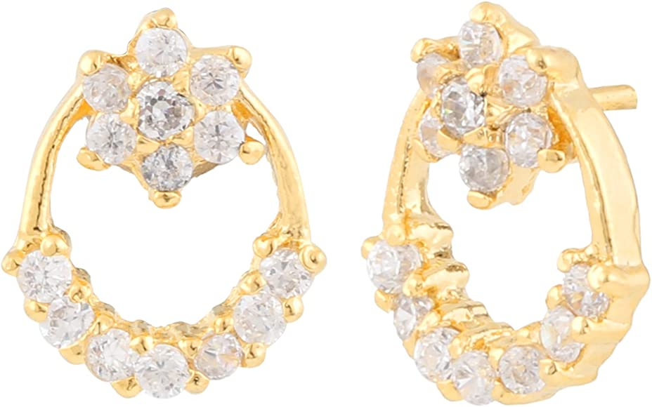 Efulgenz Stud Earrings 14 K Gold Plated Hypoallergenic Cubic Zirconia Floral Studs Pierced