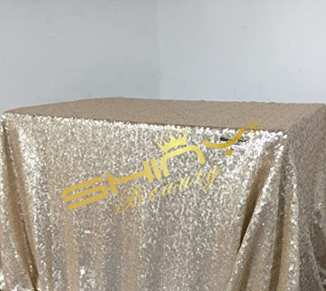 Best Selling , Sequin Tablecloth Champagne 60x60 Inch Sequin Square  Tablecloths Fabric Tablecloths