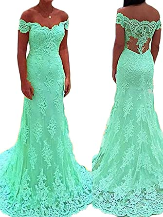 QueenDresses QueenDress Womens Off The Shoulder Mint Green Lace Long Mermaid Prom Dress Formal Evening Gowns