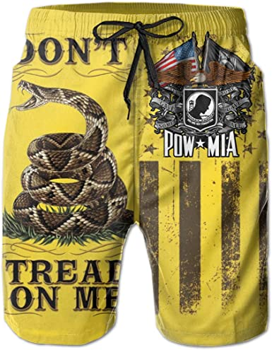 Mens Dont Tread On Me Images Shorts Lightweight Swim Trunks Beach Shorts,Boardshort