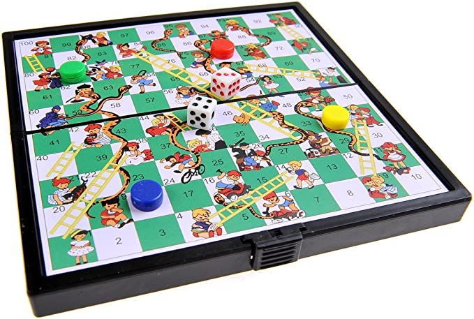 Quantum Abacus Juego de Mesa magnético (versión Super Mini de Viaje): Serpientes y Escaleras - Piezas magnéticas, Tablero Plegable, 12,8cm x 12,8cm x 1cm, Mod. SC3630 (DE): Amazon.es: Juguetes y juegos