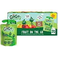GoGo squeeZ Fruit on the Go, Apple Apple, 3.2 oz. (20 Pouches) - Tasty Kids Applesauce Snacks Made from Apples - Gluten…