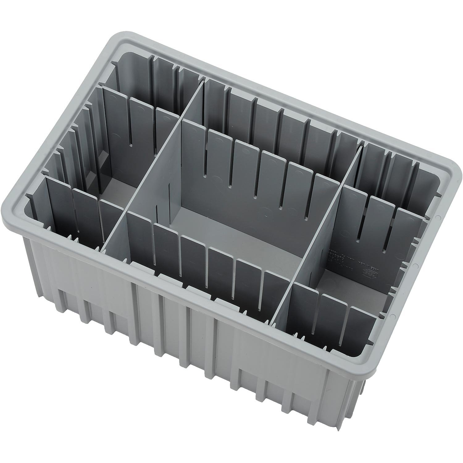 Plastic Dividable Grid Container, 16-1/2''L x 10-7/8''W x 8''H, Gray - Lot of 8