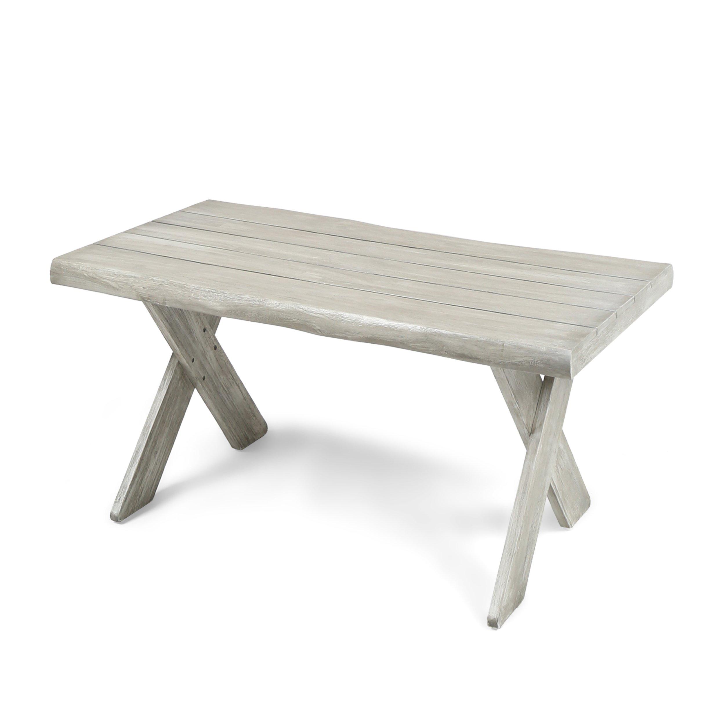 Great Deal Furniture 304413 Irene Outdoor Acacia Wood Coffee Table, Light Grey, Sandblast