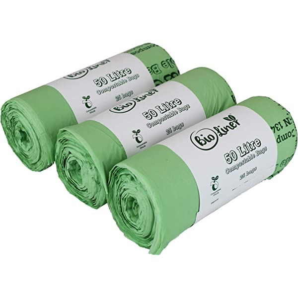 25 Bags All-Green 50 Litre Biobag Compostable Swing Bin Liners with Composting Guide