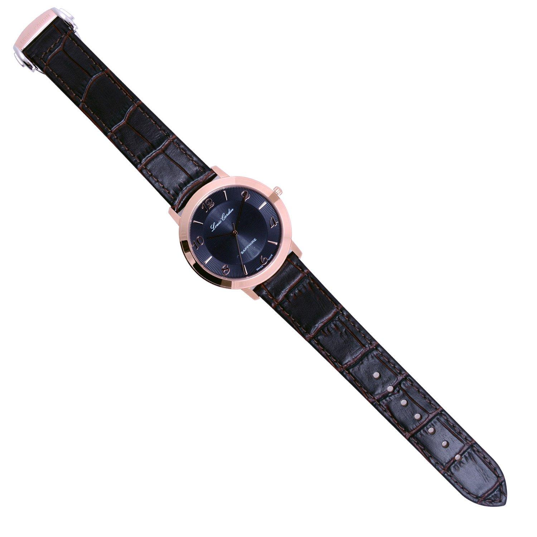 Louis Cardin Swiss Made Slim Watch Stainless Calf Jam Tangan Analog Rhombus Dial Plate Woman Black Waterproof Strap Sapphire Crystal Watches