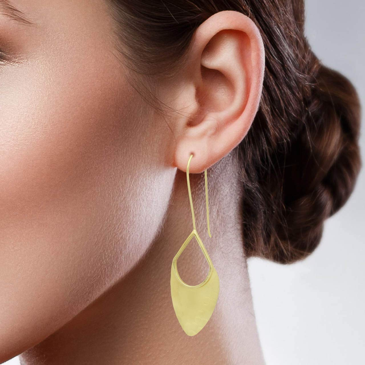 The V Collection Earrings Handmade Hammered Dangling Earrings for Women 22k Gold Plated Jewelry for Women and Girls