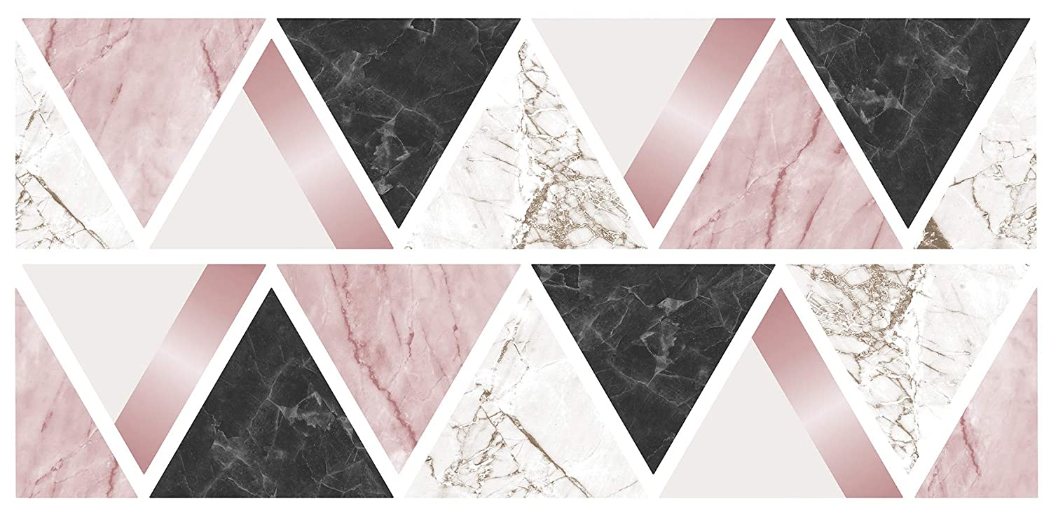 Fun4Walls WS42384 Rose Gold Marble Triangles Sticker Wall Decal Multi-Color