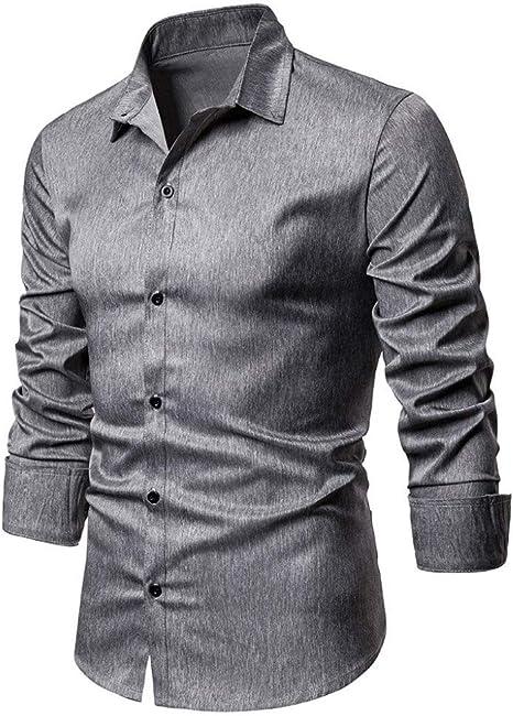 MUMU-001 Camisa de Vestir de Negocios sociales Blusa de Color sólido de algodón Transpirable Cuello Vuelto Botón de Manga Larga Slim Fit Chemise Blusas: Amazon.es: Deportes y aire libre