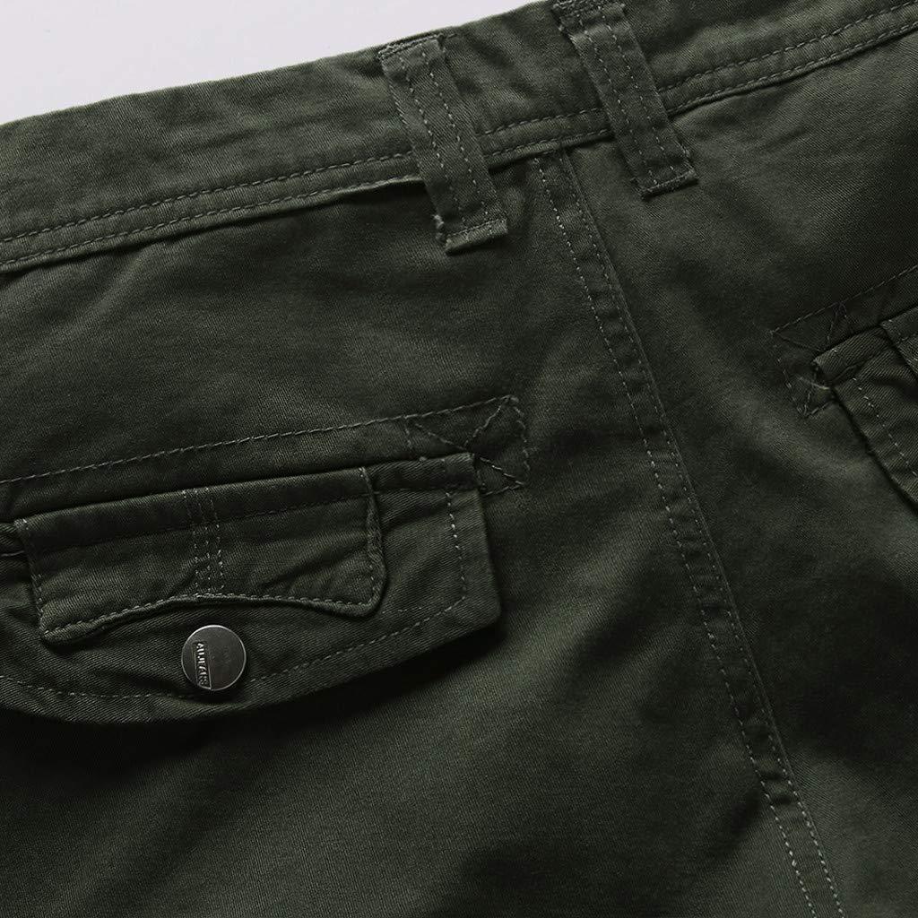 LEERYAAY Cargo&Chinos Men's Summer Outdoors Casual Loose Multiple-Pockets Cotton Overalls Beach Shorts ArmyGreen by LEERYAAY (Image #2)