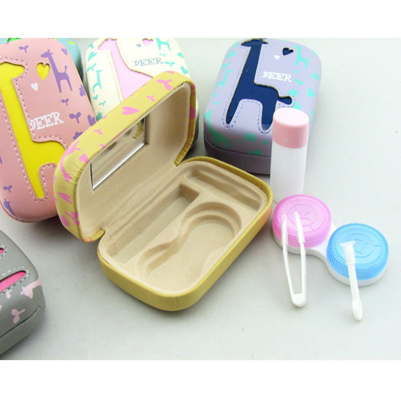 Mini Cartoon Deer Contact Lens Case Travel Kit with Mirror Tweezers Stick Solution Bottle Quantity 1 Random Style