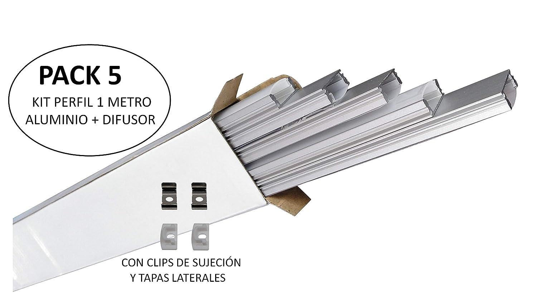 (LA) 5x Perfil de Aluminio 1m para Tira de LED con Cubierta Blanca Lechosa. Los tapones de los extremos y los clips de montaje de metal están ...
