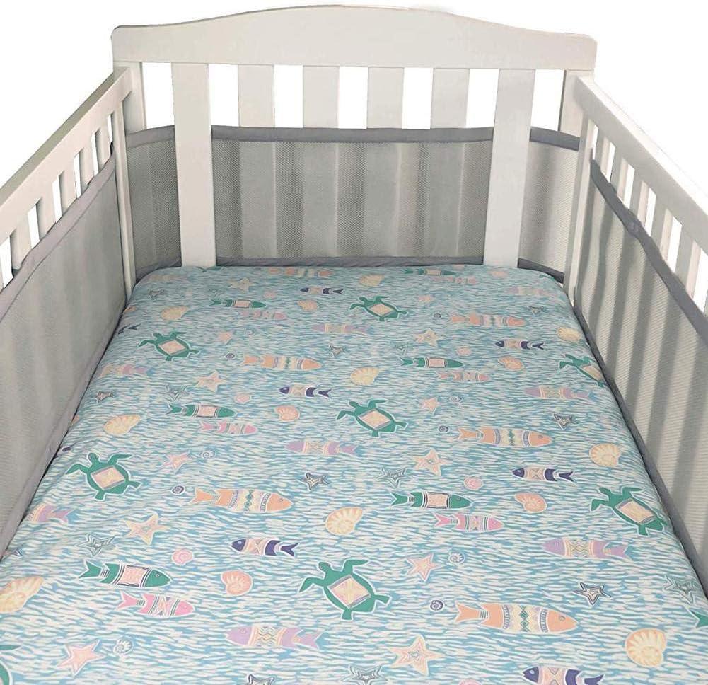 jinclonder 2019 Newest Cot Bumper Cot Liner Padded Adjustable Breathable Mesh for Standard Crib Nursery Bed