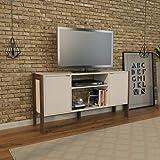 Tecnomobili tv rack for 50 inch tv, white with walnut frame - h 134 cm x w 35.5 cm x d 60 cm