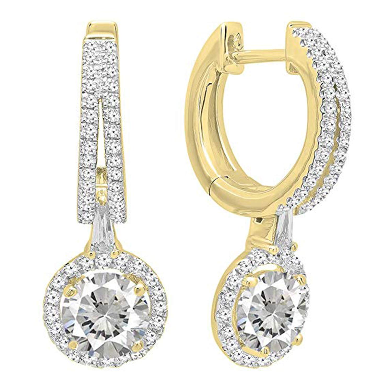 Silverraj Jewels 14K Gold Plated Simulated Diamond Studded Designer Dangle Earrings