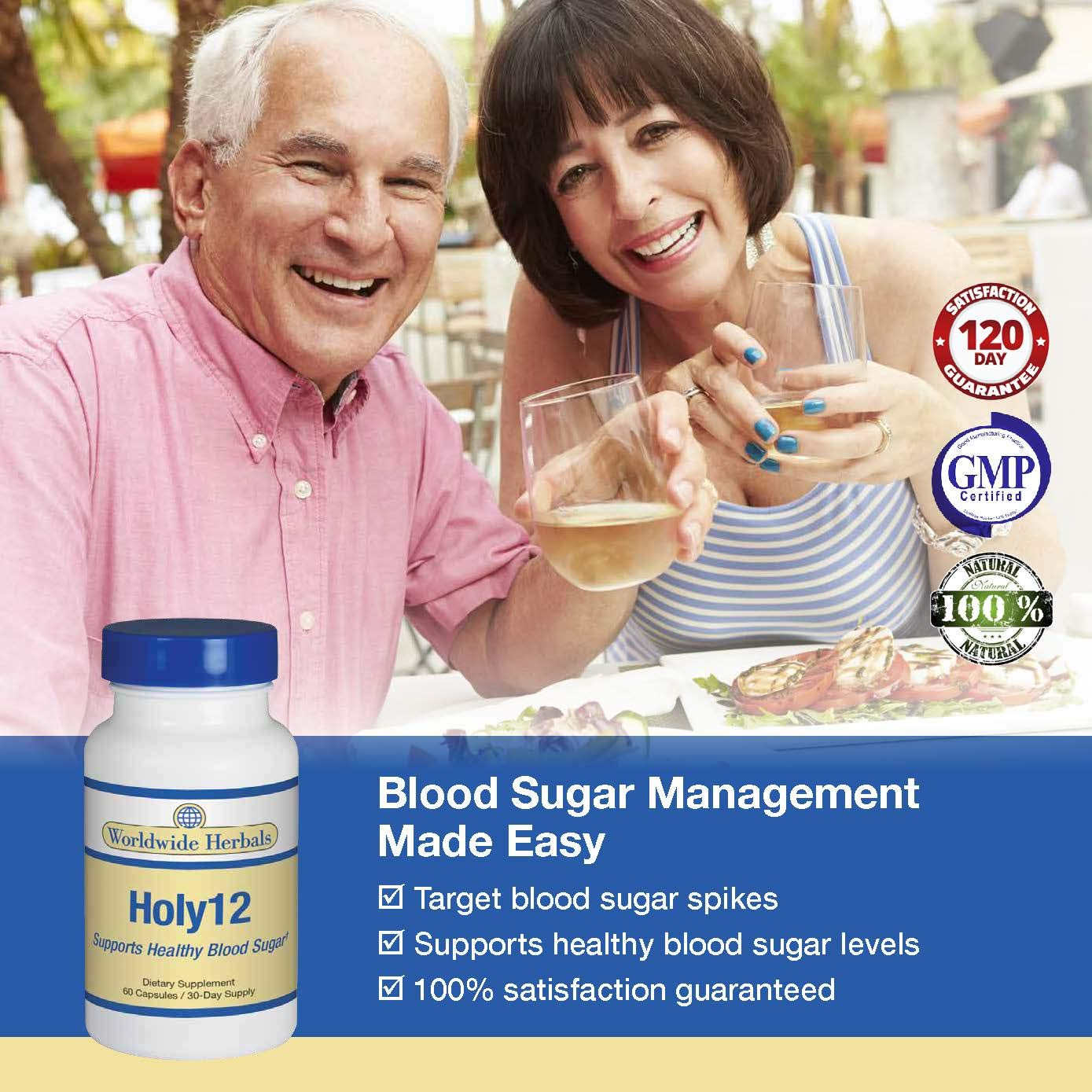 Holy 12 All-Natural Dietary Supplement Supports Healthy Blood Sugar Levels and addresses Blood Sugar Spikes. Promotes More Energy, Vibrant Health and Vigor. 90 Day Supply.