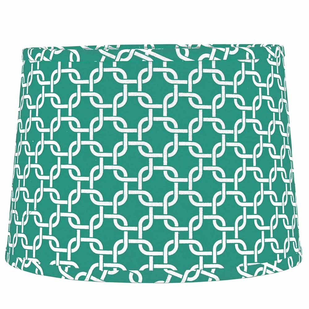 Home Collection by Raghu 0D990082 Sea foam & White Greek Key Regular Clip Drum Lampshade, 10''