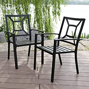 MF Studio 4 Piece Black Metal Patio Chairs Square Back Indoor Outdoor Dining Set Wrought Iron Chair with Arm