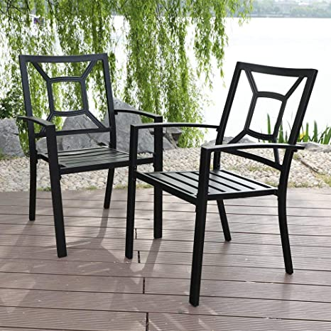 Marvelous Mf Studio 4 Piece Black Metal Patio Chairs Square Back Indoor Outdoor Dining Set Wrought Iron Chair With Arm Gmtry Best Dining Table And Chair Ideas Images Gmtryco