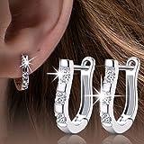 EIGA Women's Jewelry Silver-plated Rhinestones Earrings Pierced Ear Studs Harp Shape Gift