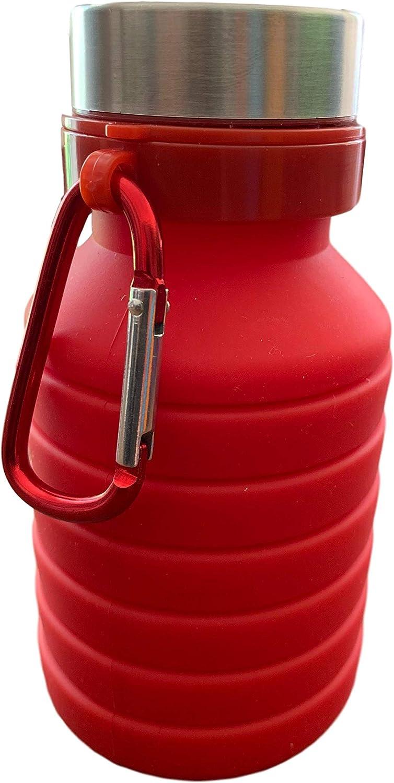 Botella de Agua Plegable de 550 ml, 250 ml Cuando está Plana, Silicona sin BPA, la Mejor Botella de Agua pequeña para Viajes, Deportes, Ciclismo, Festivales, Senderismo y Camping