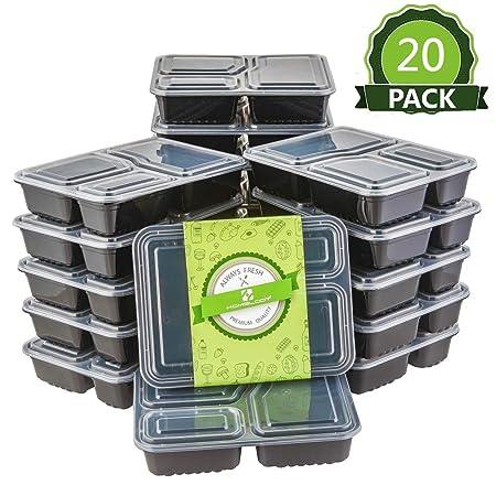 HOMELODY (Piezas de 20) Recipientes Herméticos para Alimentos Juego de recipientes para Comida Reciclable Contenedores para Microondas Sin BPA Tapas ...