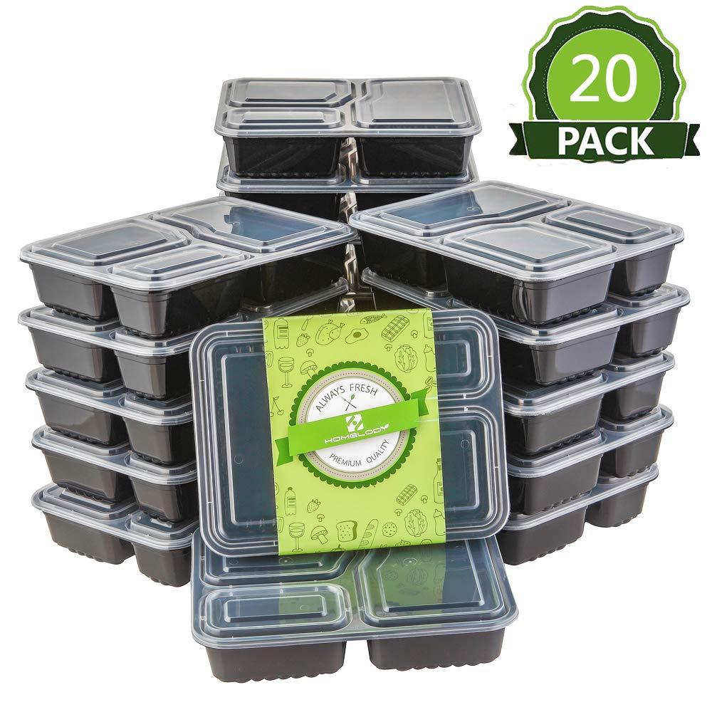 HOMELODY (Set de 20) Juego de recipientes para Comida Reciclable Contenedores para Comidas (