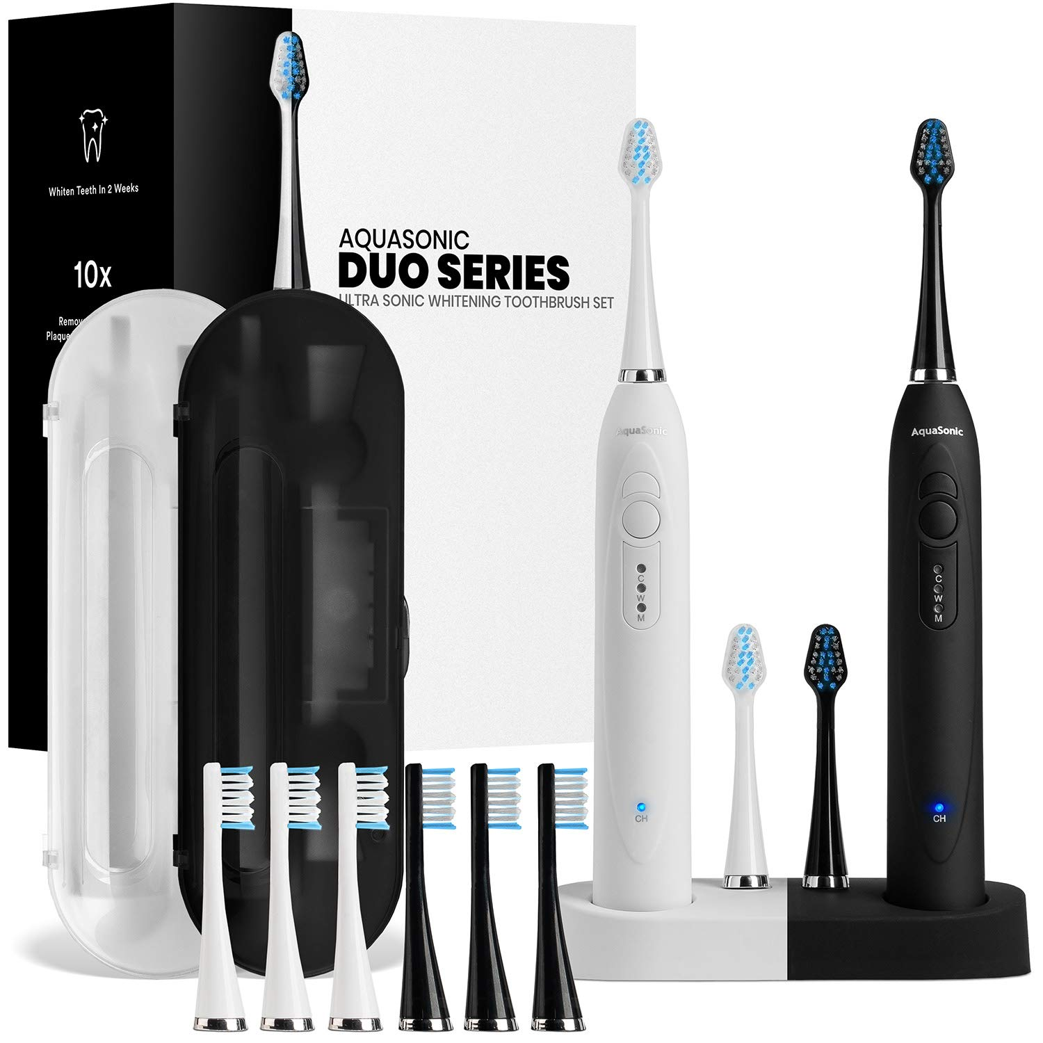AquaSonic DUO Dual Handle Ultra Whitening 40,000 VPM Wireless Charging Electric ToothBrushes - 3 Modes with Smart Timers - 10 DuPont Brush Heads & 2 Travel Cases Included by Aquasonic
