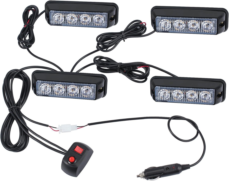 Justech 4XLED Luces Estroboscópicas de Ámbar Luces de Faro para Advertencia FLASH para los Vehiculos con el Cargador Luces Impermeables de Emergencia Intermitente 12V 24V para Camión Remolque Caravana