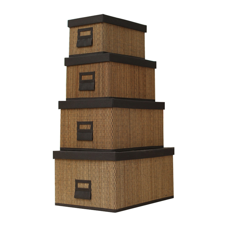 Wicker Collapsible Storage Bin Basket Weave Tweed Storages For Home Tool Storage or Children Toys Storage Set of 4
