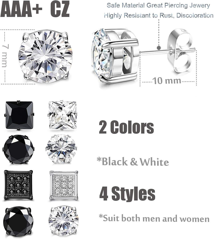Finrezio 8 Paires Lot de Boucles dOreilles Zirconium Noir Argent pour Homme Femme Clous dOreilles CZ Carr/é Rond 6-8MM