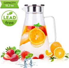 Glass Pitcher Uten Clear Water Pitcher with Stainless Steel Lid Premium Refrigerator Pitcher for Juice,Coffee,Ice Cold Water,Hot Water,Tea etc.
