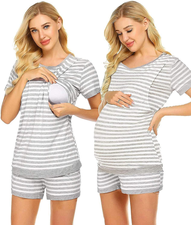 Umstandspyjama Damen Schlafanz/üge f/ür Schwangere Stillpyjama Stillschlafanzug Kurzarm Stillshirt und Kurze Hose Streifen Set Sommer S-XXL