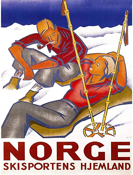 WINTER NORWAY SNOW SKI HOME SMIKE PIPE Poster Travel Sport Canvas art Prints