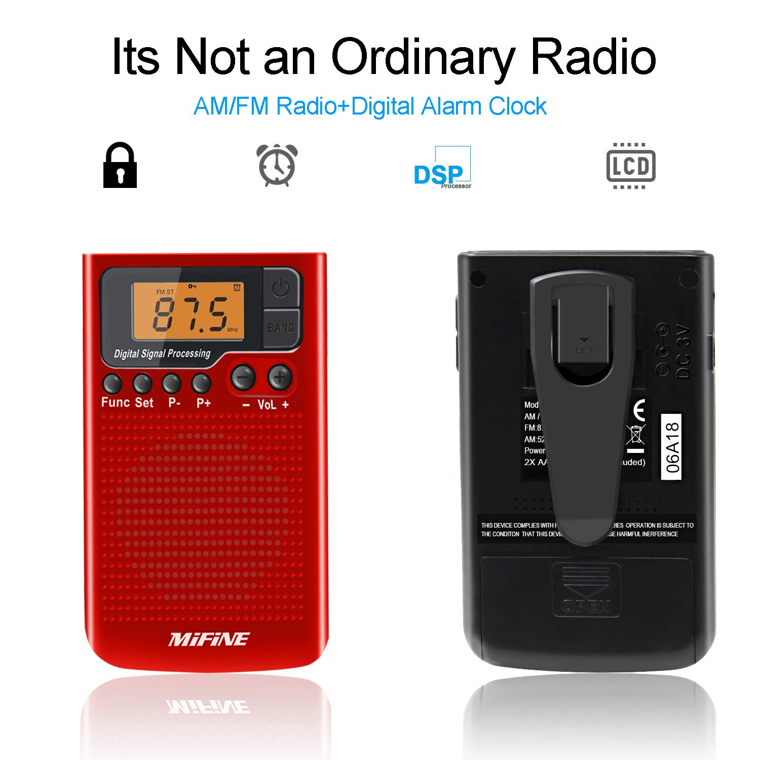 AM FM Radio - Portable Radio with Alarm Clock and Sleep Timer, Digital Tuning Stereo Radio with 3.5mm Headphone Jack for Walking Jogging Gym Camping (Red)