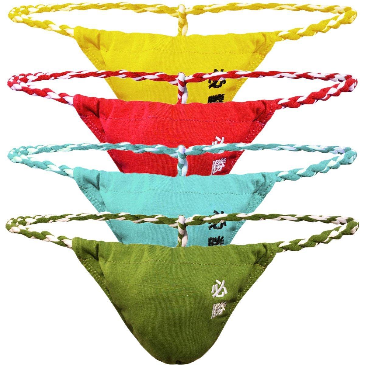 GuangmingXi Men's G-String Thong Underwear Low Rise Sumo Wrestling Bikini Briefs Panties (Color 3 (Yellow/Light Blue/Green/red), L (30''-32''))